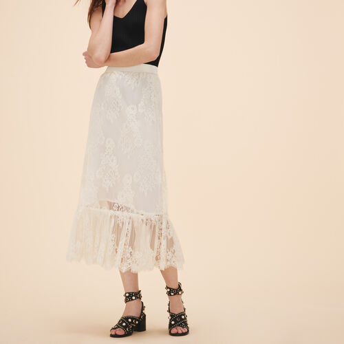 Long lace skirt : Skirts & Shorts color WHITE
