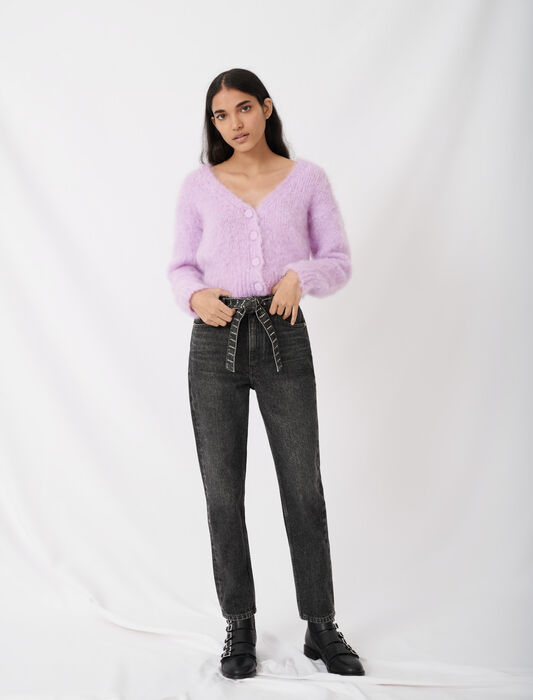 Mom jeans with rhinestone belt : All the collection color