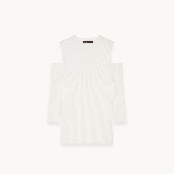 Close-fitting off the shoulder top : Knitwear color Ecru