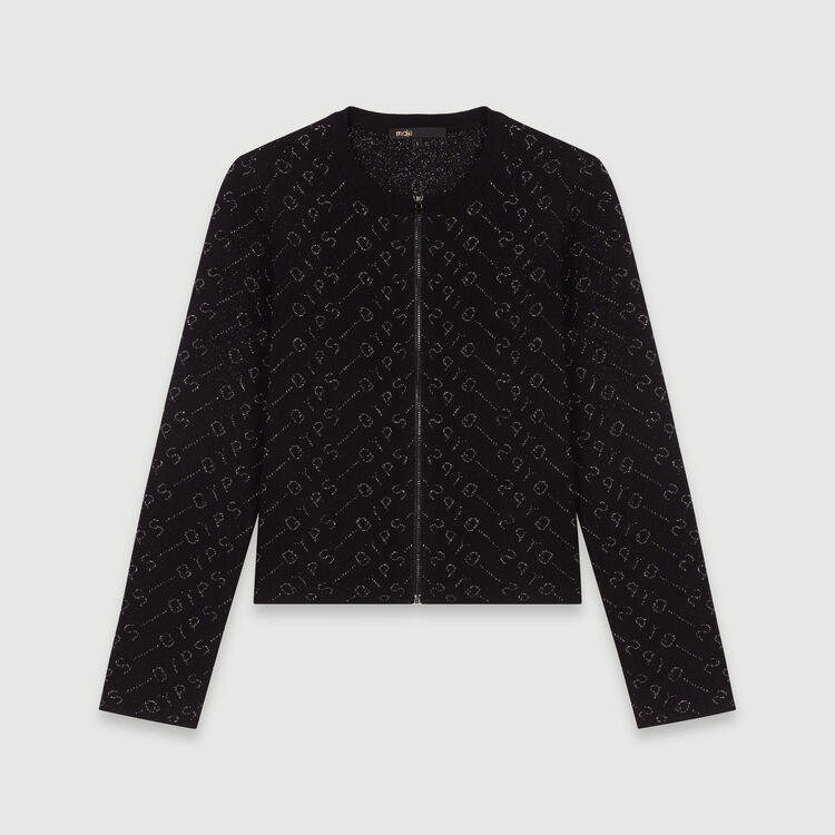 Lurex jacquard cardigan : Knitwear color Black