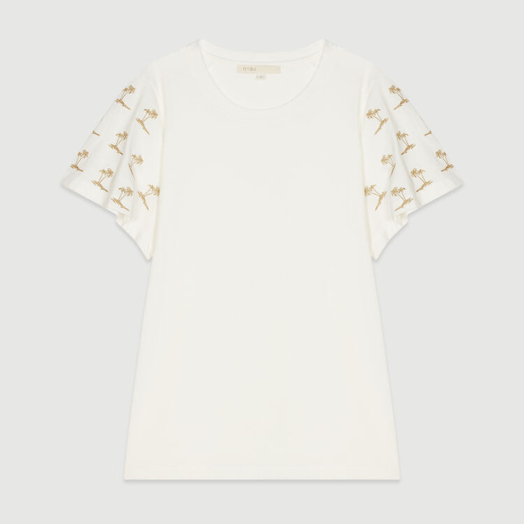 Braided sleeve T-shirt : T-Shirts color White