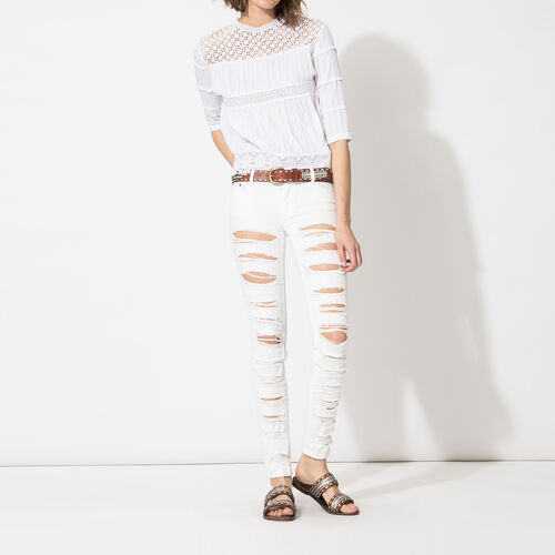 Ripped boyfriend jeans : Trousers & Jeans color White