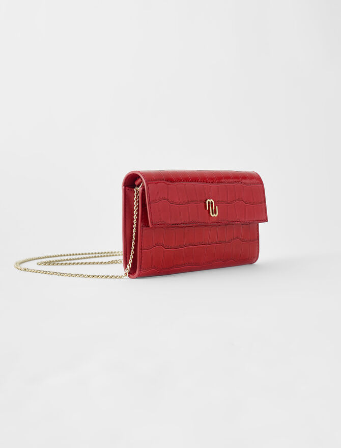 Croco embossed leather wallet with chain - All the collection - MAJE