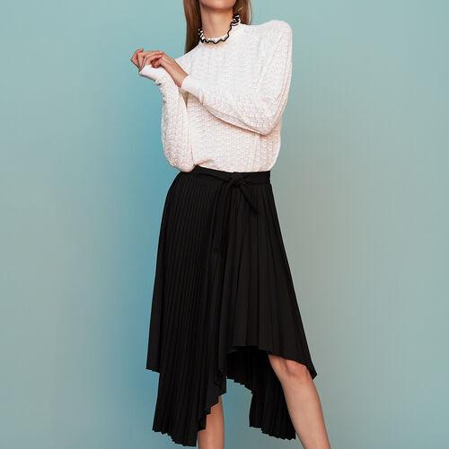 Asymmetric pleated skirt : Ready to wear color Black 210
