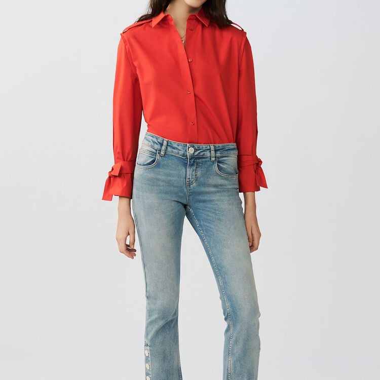 Shirt with intricate detailing : Shirts color Red