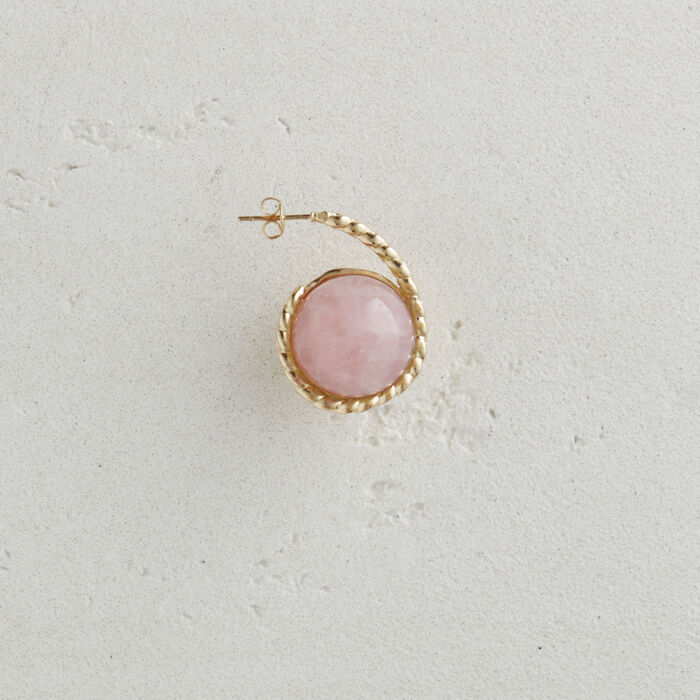 Right earring with natural stone : Jewelry color Pale Pink