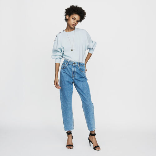 Wide jeans in distressed denim : Ready to wear color Denim