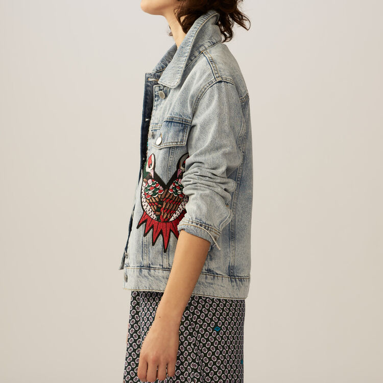 Embroidered denim vest : Jackets color Denim