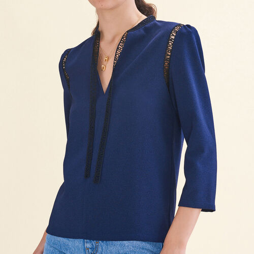 Blouse with braid trim - Shirts - MAJE