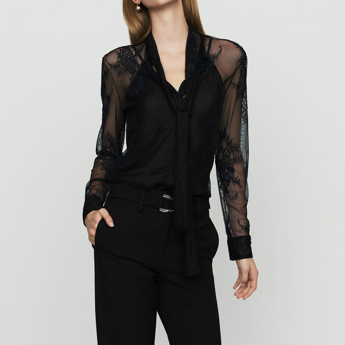 Lavalier shirt in lace : Shirts color Black 210
