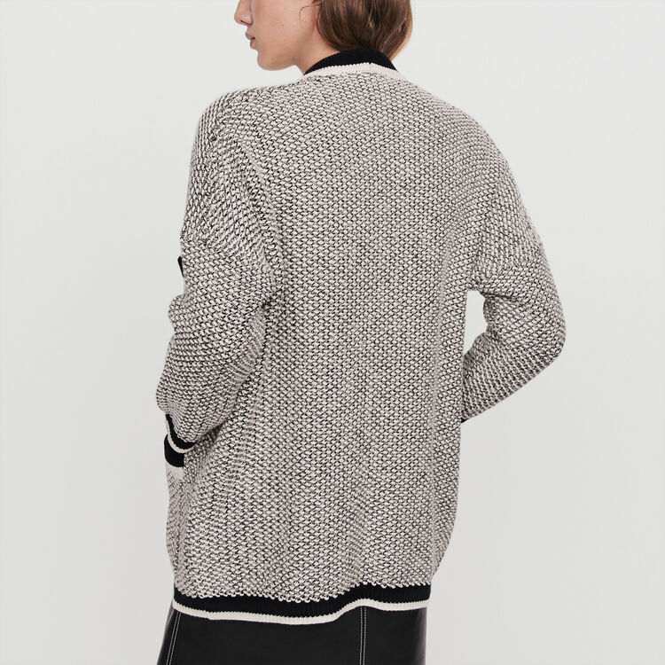 Cardigan with contrast stripes : Knitwear color Black