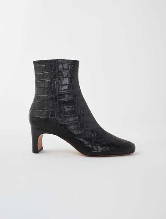 Croc-effect embossed leather boots : LastchanceIT_50 color Black