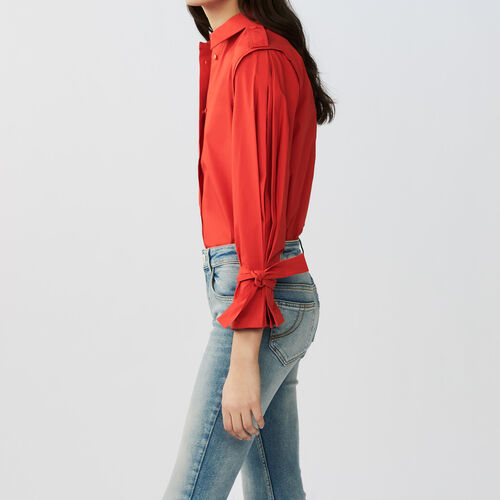 Tied-cuff cotton shirt : Shirts color Red
