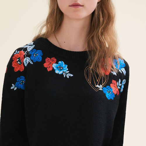 Fine knit jumper with embroidery - Knitwear - MAJE