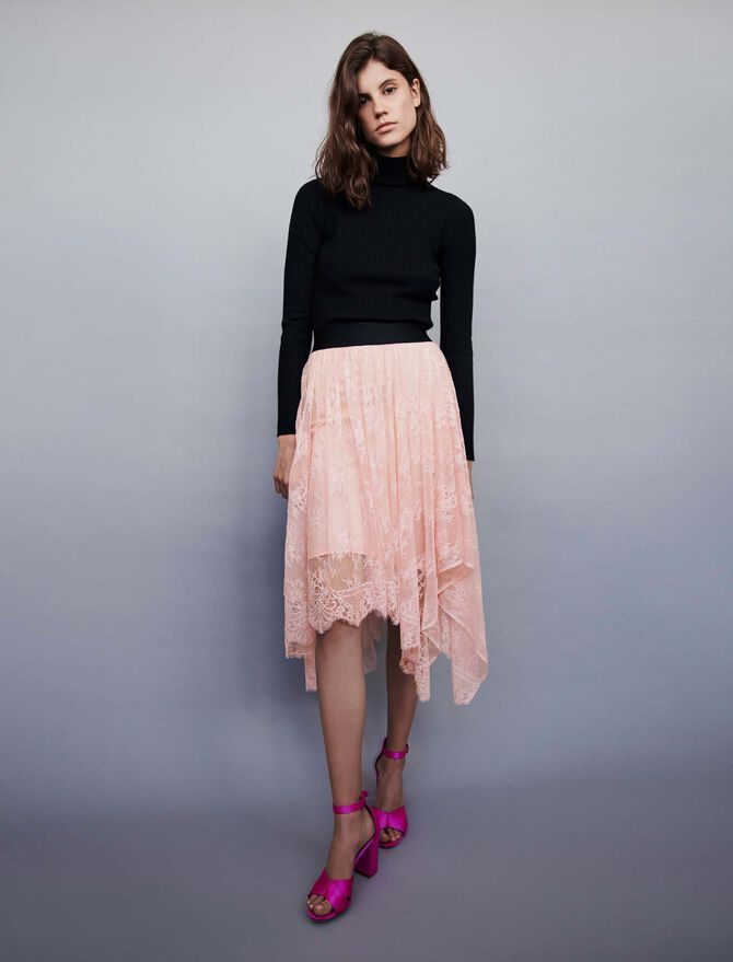 Elasticated asymmetrical lace skirt - SoldesFR_ALL - MAJE