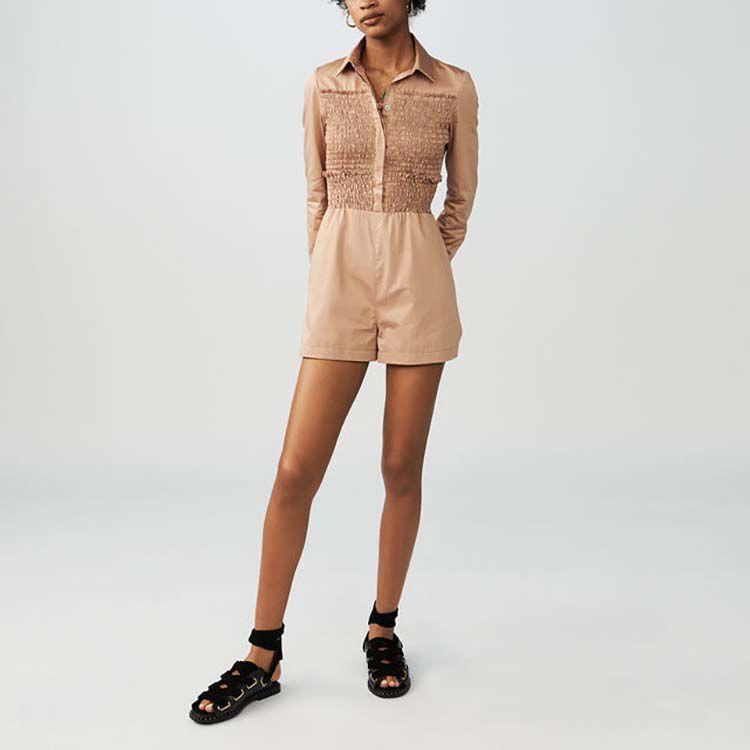 Smocked cotton romper : Jumpsuits color SAND BEIGE