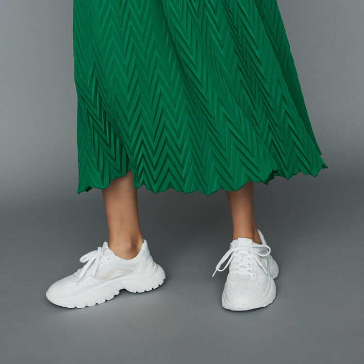 Long pleated chevron skirt : Ready to wear color GREEN