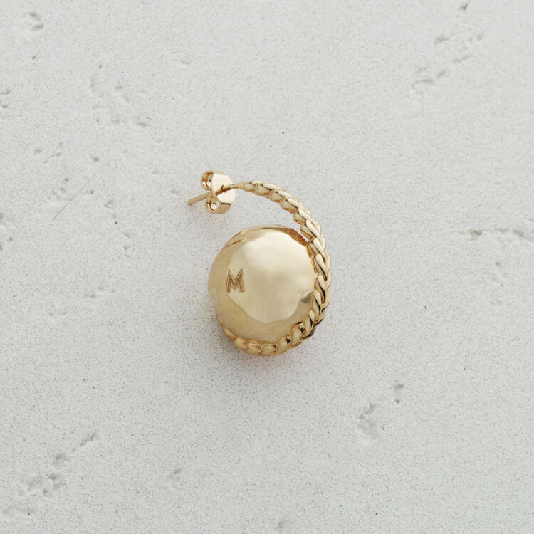 Left earring with natural stone : New collection color Off White