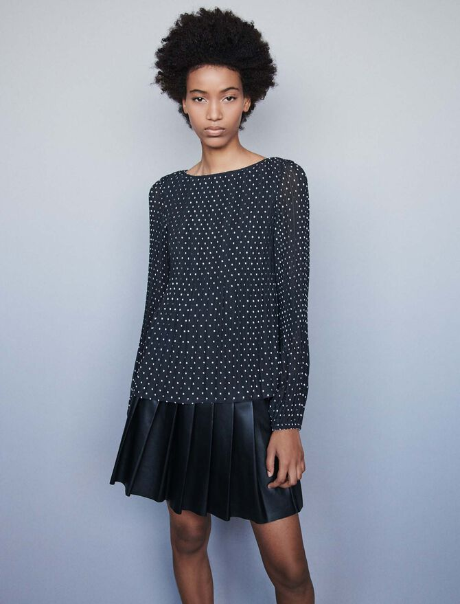 Embroidered pleated top - Tops & Shirts - MAJE