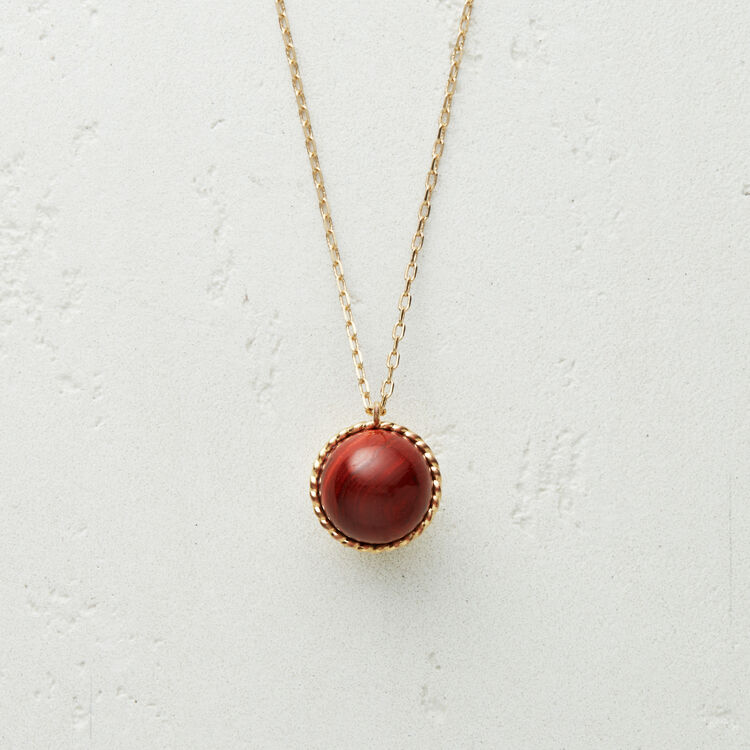 Necklace with natural stone : Jewelry color Red