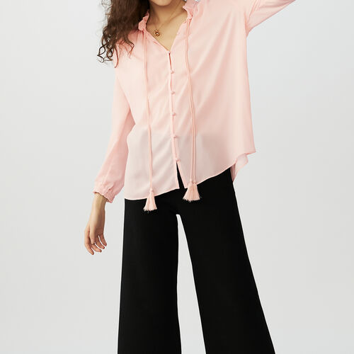 Flowing blouse with cord tie : staff private sale color Pink