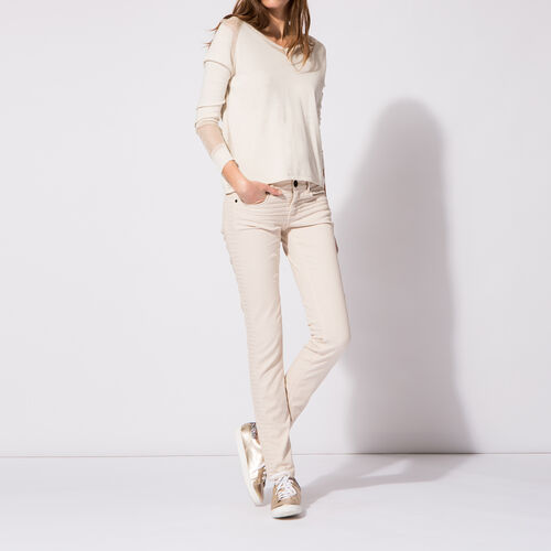 Slim quilted jeans : Trousers & Jeans color Nude
