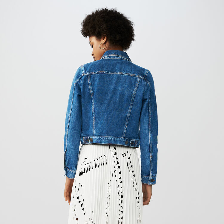 Cropped denim jacket : Blazers color Blue