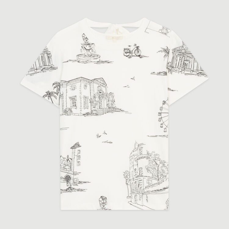 T-shirt with Paris embroidery : T-Shirts color Ecru