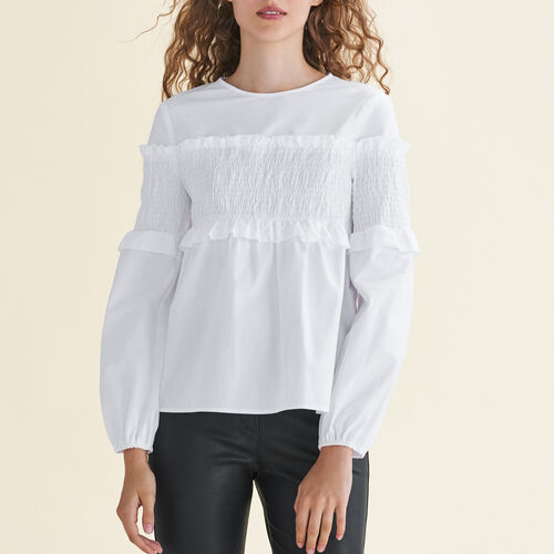Cotton top with smocking : Tops color White