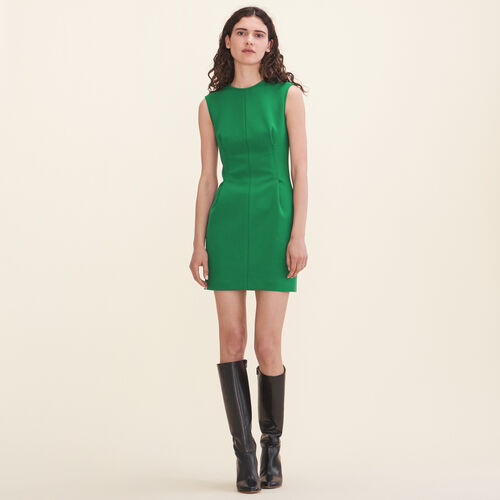 Crêpe sleeveless dress : Dresses color Green