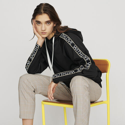 Hooded sweat-shirt with slogan band : Knitwear color Black 210