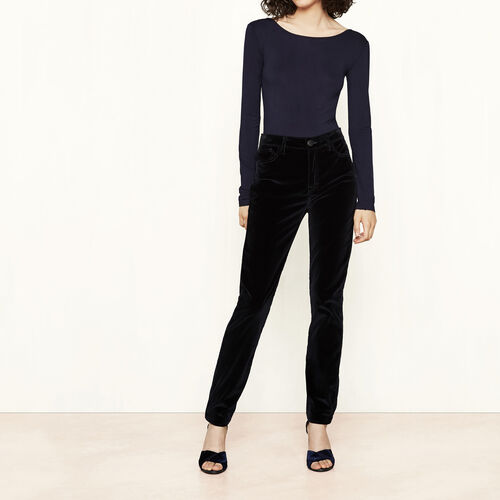 Velvet high-waisted trousers : Trousers & Jeans color Night