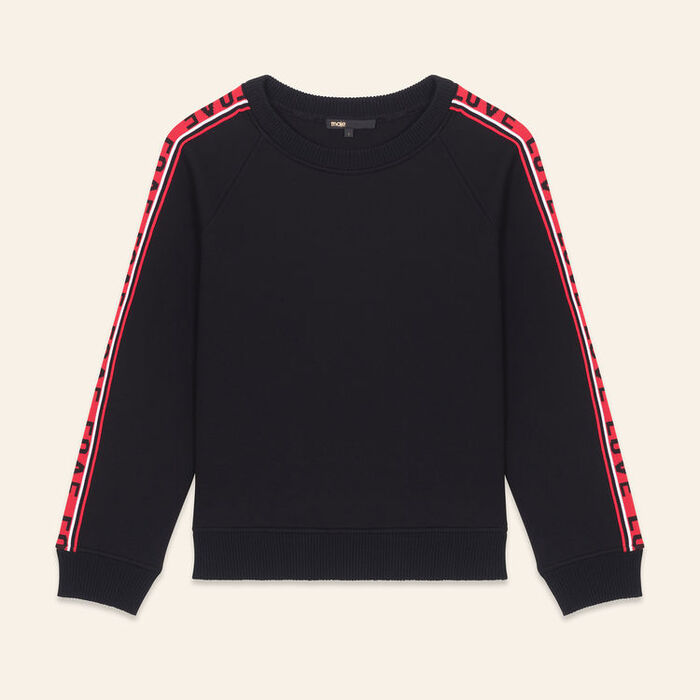 Neoprene sweatshirt with bands : Ready to wear color Black 210