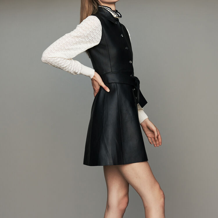 Sleeveless leather shirt dress : New Collection color Black 210