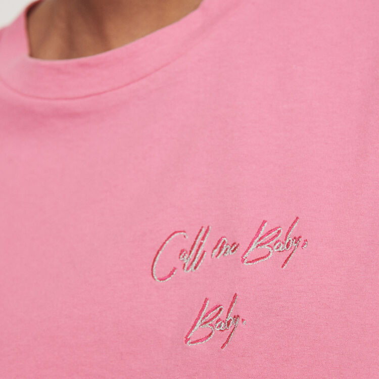 Embroidered short-sleeved t-shirt : T-Shirts color Pink