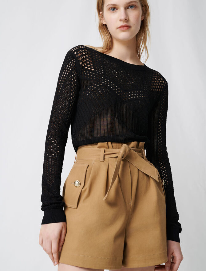 Camel cotton canvas belted shorts -  - MAJE