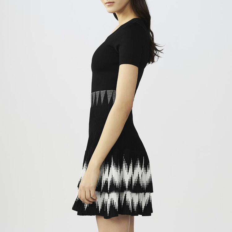 Ruffled knit dress : Dresses color Black 210