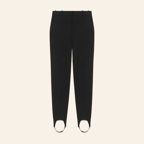 Straight-cut crepe stirrup trousers : Trousers color Black 210