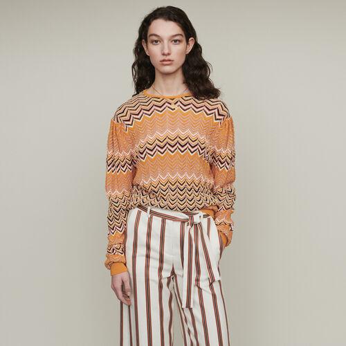 Sweater in zigzag knit : Knitwear color Orange