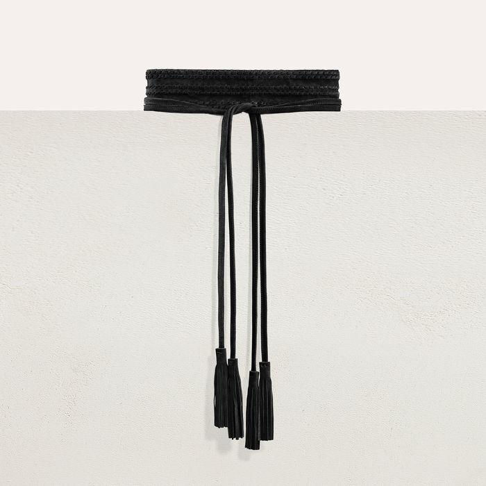 Large belt with suede fastening : Belts color Black 210