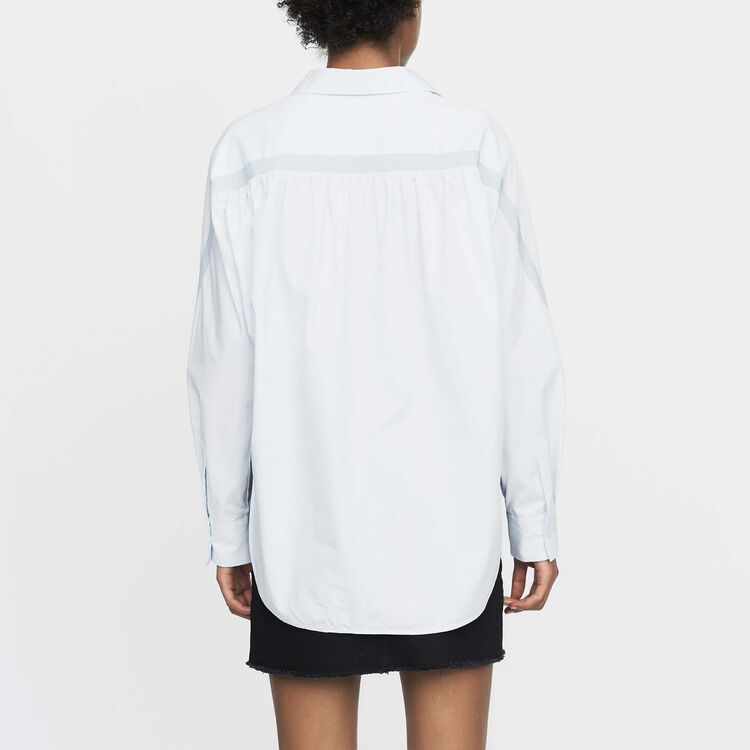 Oversized shirt with grosgrain : New Collection color Blue Sky