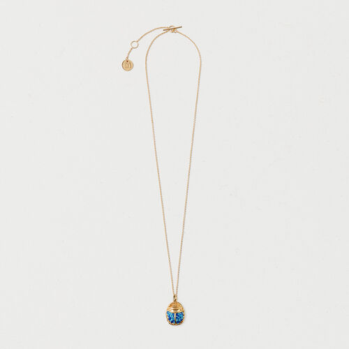 Necklace with blue beetle : Summer collection color GOLD
