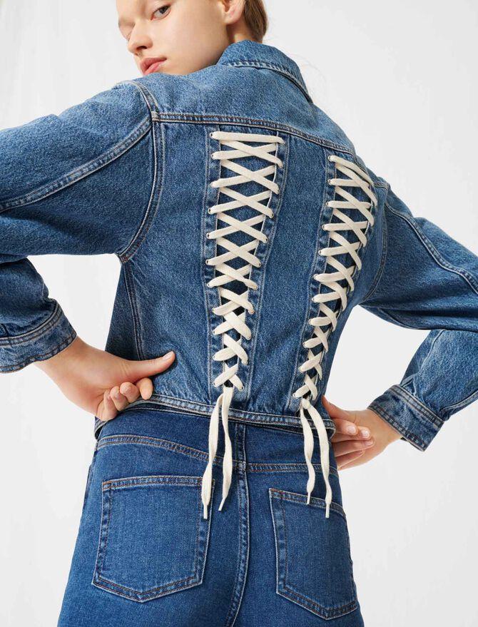 Denim jacket, corset lacing at the back - Coats & Jackets - MAJE