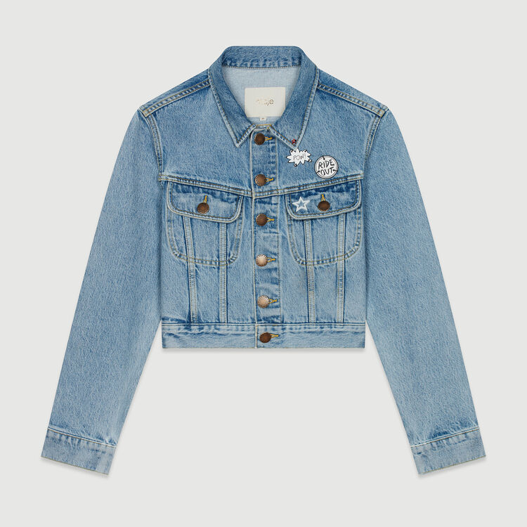 Cropped jacket in denim with pins : Coats & Jackets color Denim