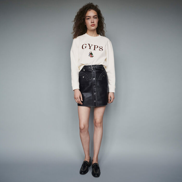Embroidered sweatshirt : Winter collection color White