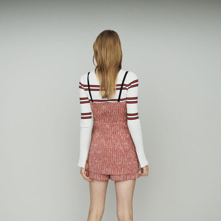 Tweed-style trompe l'oeil dress : Dresses color Red