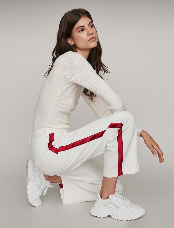 Wide-leg pants with contrasting stripes - Trousers & Jeans - MAJE