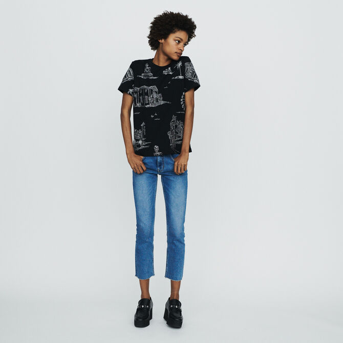 T-shirt with Paris embroidery - SoldesCH-T-shirts - MAJE