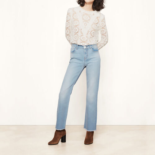 Slim jeans with frayed finish : Trousers & Jeans color Blue