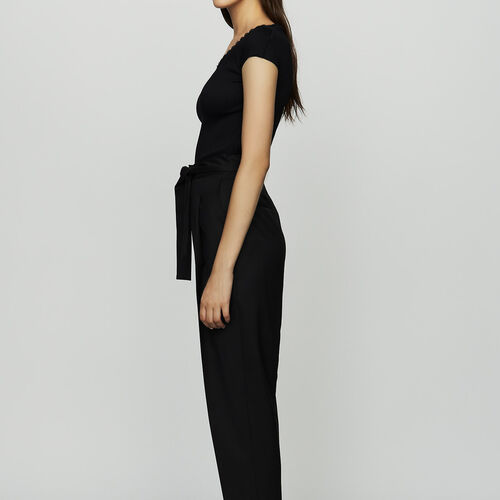 Pleated peg pants in virgin wool : Ready to wear color Black 210